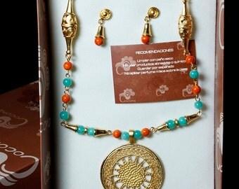 Pre-Columbian Style Jewelry Set - Radiant Sun Disc