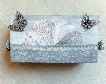 Shabby chic wooden box grey theme butterflies and hearts