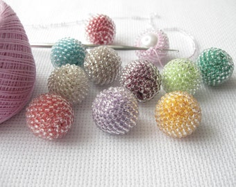 10 pcs 17 mm Handmade Beaded Balls, Beaded Sphere, Material for Handmade, Decorative Beaded Balls, Transparent Beads Balls