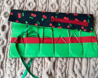 Circular knitting needle case, with zip pocket. Knitting needle organiser. Needle tidy. Knitters needle roll. Knitters gift idea.