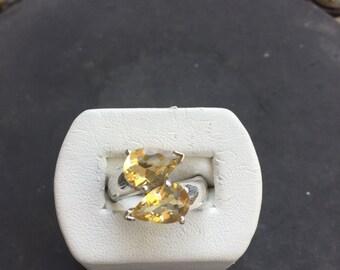 Silver and lemon topaz ring