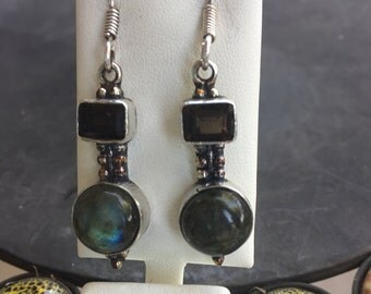 Labradorite and smoky earrings in silver