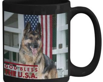 Coffee Mug German Shepherd! God Bless The U.S.A.! Gorgeous Shepherd and Old Glory Stars and Stripes Flag Photo 15 oz Black Coffee Cup!