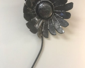 "Contemporary Modern Earthy Metal Wall Art Sculpture, Hammered Forged Steel Flower I, ""Choice Petals"" by Michael Coleman"