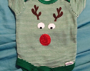 Rudolph The Red Nose Reindeer Onesie with Glitter Nose