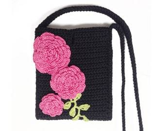 Iphone 6 Crocheted Bag with Pink Roses. Purse with Single Slot and Xbody Shoulder Strap