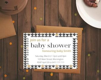Baby shower neutral invitation arrows black gold arrows modern minimalist invite