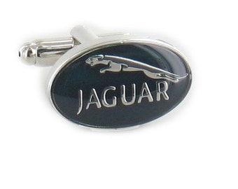Jaguar Cufflinks - Silver Plated Jaguar Cufflinks - Laser Finish Cufflinks - Gift Box Included