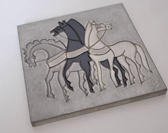 Aluminium Roman Horse Plaque Wall Tile