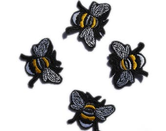 Bees Patch Bees Applique 4 Pcs. Bees Patches Iron on Patches Animal Patch Kids Clothes Iron Patches Clothing Patch, Various sizes and colors