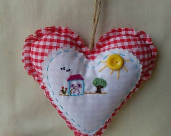 Hanging red gingham heart, Decoration, Gift, Home deco,