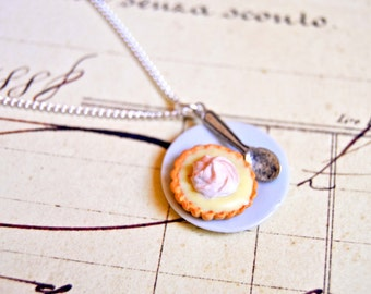 Handmade miniature polymer clay lemon meringue pie necklace - miniature food jewelry, pie necklace, yummy jewelry