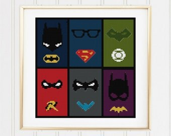 Dc comic superheroes stitch pattern /Batman cross stitch/superman  cross stitch / superhero pattern/batman pattern #04-004