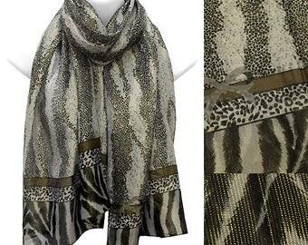 Leopard & Zebra Pattern Light Chiffon with Lurex Scarf