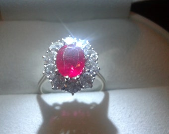 ring with a Ruby and diamonds