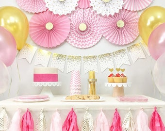Baby Girl Shower, Bridal Shower Decorations, Birthday Girl Party Decorations, Pink and Gold, Party Kit, Party Package