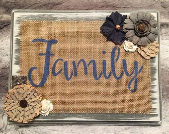 Family Wooden Burlap Sign, Wooden Sign, Burlap Sign, Burlap, Rustic Home Decor, Rustic Plaque, Distressed Wood