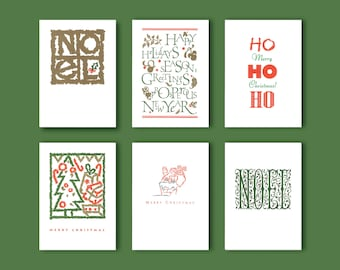 Set of 6 Letterpress Holiday Cards with Envelopes