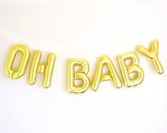 "OH BABY balloons; 16"" gold foil balloons; baby letter balloons; baby shower; baby announcement; baby letters; baby party"