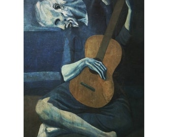 Picasso : The Old Guitarist (1903) Canvas Gallery Wrapped Wall Art Print