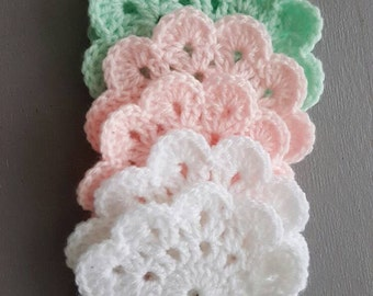 Set of 6 cute coasters - crochet - pastel tones