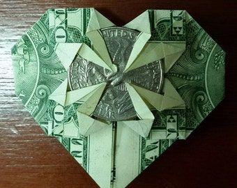 Valentine Origami Dollar Bill Heart