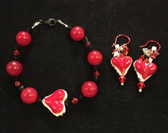 Red and black plus size valentines bracelet.lampwork heart and Jade bracelet with earrings.