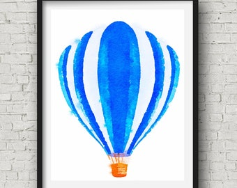 Blue Hot Air Balloon ~ Watercolor ~ Instant Download ~ Wall Art