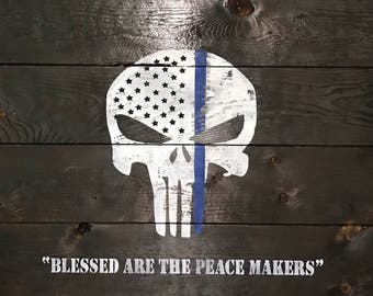 Thin blue line punisher sign