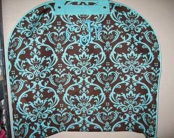 Brown &n teal DAMASK Garment bag FREE personalization