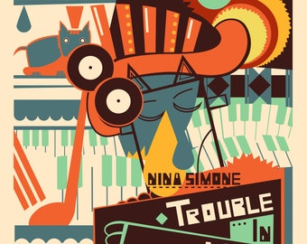 Vintage Music Art Poster - Nina Simone Trouble In Mind  0309