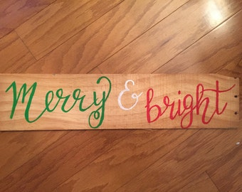 merry & bright; christmas signs; wooden signs; christmas decor; handmade; holiday decor