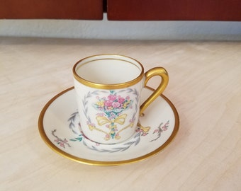 Concorde Fine China Demitasse Cup & Saucer with Nosegay Decoration and Gold Trim