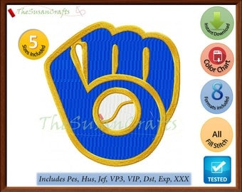 Milwaukee BREWERS EMBROIDERY DESIGNS Pes, Hus, Jef, Dst, Exp, Vp3, Xxx, Vip