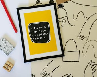 I am nice print/collage in super yellow MUSTARD colourway