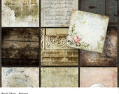 20 Digital Scrapbook Papers, Vintage, Shabby Chic Style Paper Pack, Digital Backgrounds, Instant Download, Back Then