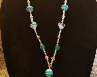 """34"""" Turquoise and Silver Beaded Lanyard"""