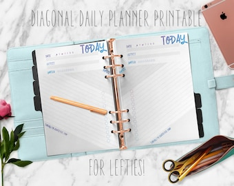 Diagonal Daily Planner Printable For Lefties! || Left Handed Planner Pages | A5 A4 | Kikki K Filofax Carpe Diem Websters Pages Colour Crush