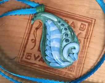 Handmade Paisley Necklace/Pendant/Paisley/Blue/Green