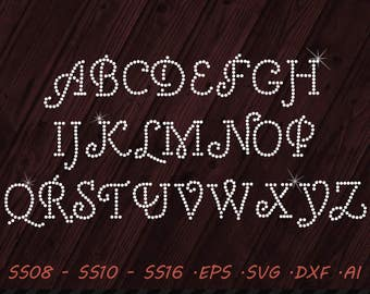Rhinestone Cursive Font - SVG EPS DXF Ai  Digital Template - Vector Clipart - Cricut - Silhouette Studio - Cutting File  Vector Files