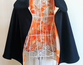 Navy wool cape with vintage kimono silk lining - orange leaves