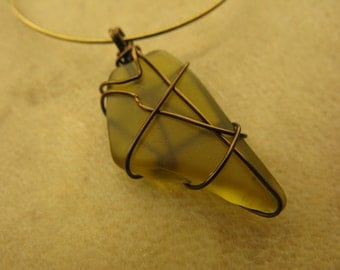 Hoop Earrings with Handmade Copper Wire Wrapped Green Sea Glass Look
