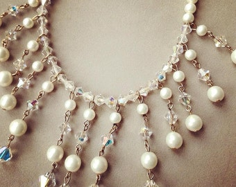 1950's Faux Pearl and Crystal Necklace