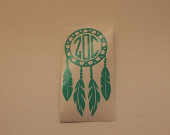 car decal/Vinyl Monogram/Yeti Decal//Monogram/Vinyl Decal/Dream Catcher Monogram