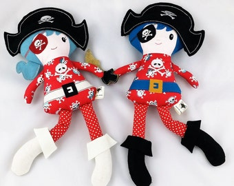Pirate doll, cloth dolls. CE Mark. Child's gift. ready to post, custom made doll, Pirate party. Pirate theme,  fabric pirate doll,