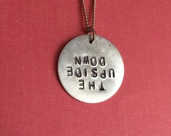 Stranger Things Upside Down Hand-Stamped Metal Necklace