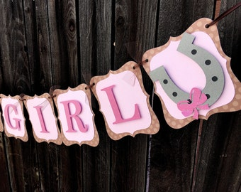 Cowgirl Its A Girl Banner, Cowgirl Baby Shower, Cowgirl Decorations