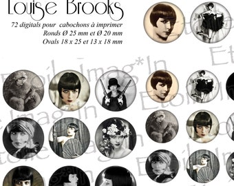 Board 72 digital * Louise Brooks * to print for cabochons
