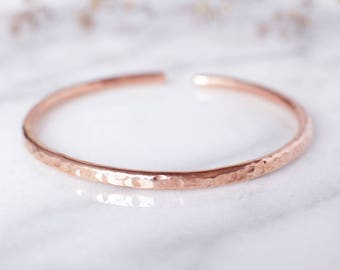 Round Hammered Copper Bracelet