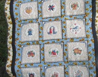 "SUMMER SALE LAP quilt Handmade ( 52""by 65"") ""Sweet Country"" yellow blue white warm batted quilt"